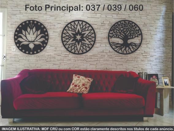 Trio De Quadros Mandala Decorativo Parede Mdf Crú 40x40