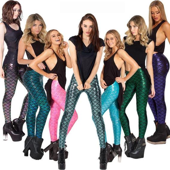 Leggings Sirena Escamas Metalico Brillante Colores