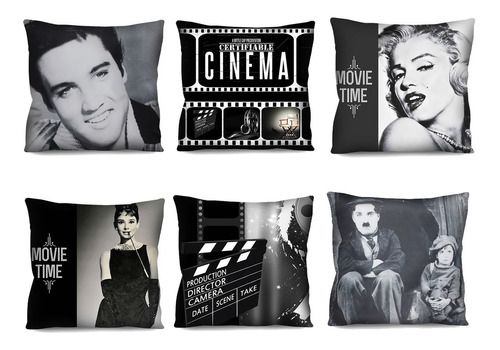 Kit 6 Capas De Almofada Cinema Marilyn Elvis Audrey 42cm R1