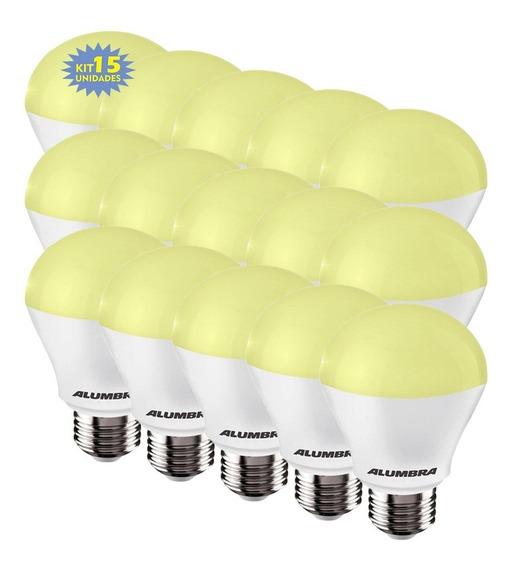 Kit 15 Lampada De Led 9,5w Branca Morna Alumbra 3000k E27 Bulbo
