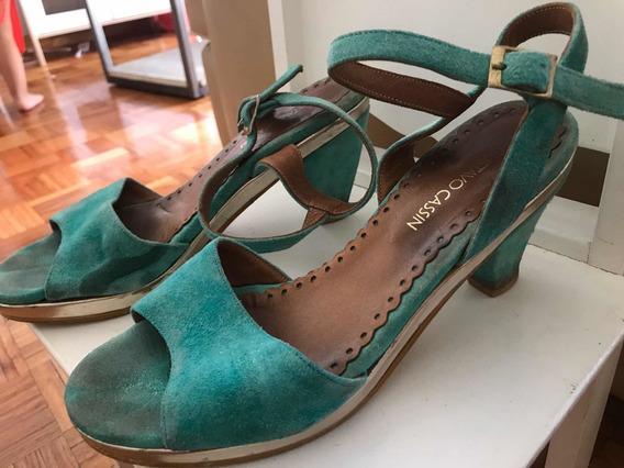Zapatos Gustavo Cassin 39 Verde Agua Gamuza C/ Detalle