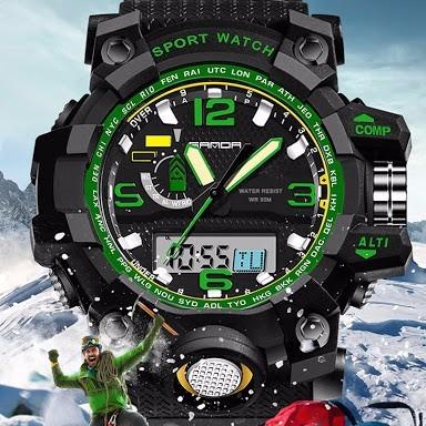 Relógio Masculino Ant Shock Digital Analogico Sanda732 Verde
