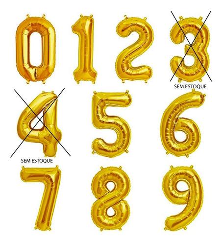 Balão Número Dourado 40cm Kit 2 Unidades