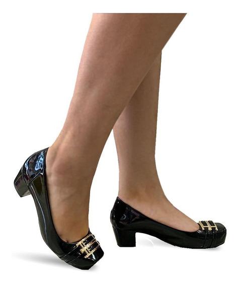 Sapato Feminino Confortavel Salto Baixo Medio Grosso 4042