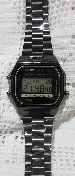 Relógio Unissex Casio Retrô Aço Preto Escuro Barato Top