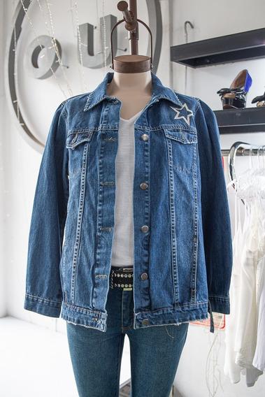 Campera De Jeans Oversize Bordada Única