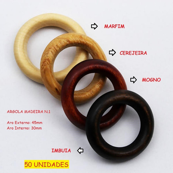 50 Argola Madeira Nº 1 - 45mm - Artesanato Porta Guardanapo