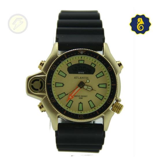 Relógio Sport Digital Dourado Masculino Serie Ouro Aqualand