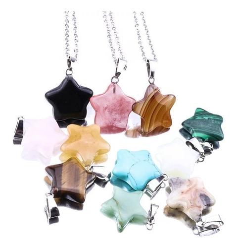Collar Cuarzo Piedra Natural Dije Piedra Natural Estrella