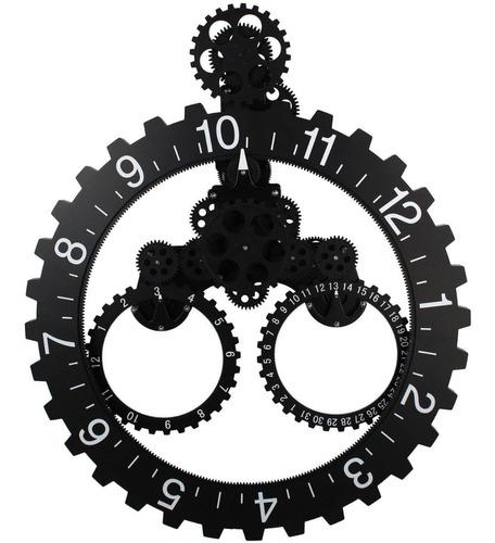 Reloj Pared Mecanico Movimiento Engranajes 3d Rueda Piñon
