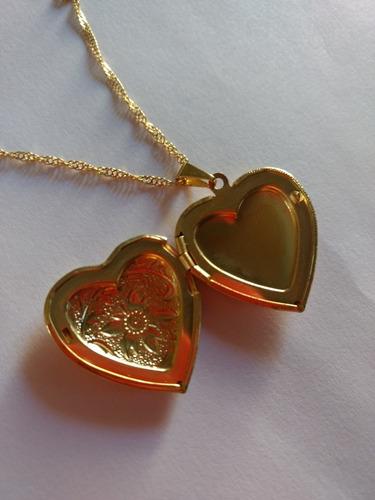 Corrente De 40 Cm Com Relicário Em Coração Folheado A Ouro
