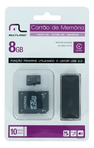 Kit Multilaser Cartão Sd 8gb + Leitor Sd + Leitor Usb