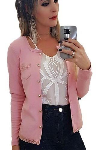 Blusa De Frio Malha Feminino Cardigan Casaquinho Liso