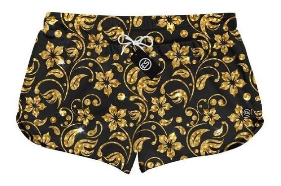 Short Feminino Moda Praia Patricinha Floral Dourado Refes-03