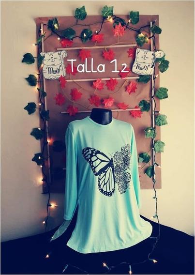 Blusa Dama, Talla 12, Estampado Mariposa O Girasol