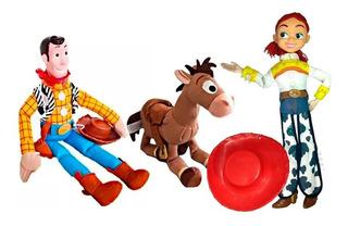 Set X3 Peluche Muñeco Woody Jessie Toy Story + Tiro Blanco