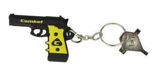 Chaveiro Coleção De Borracha Pistola Preta E Amarela