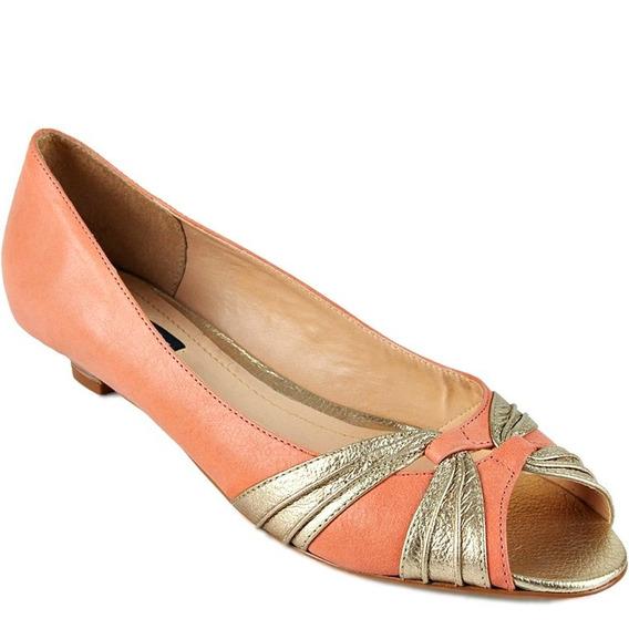 Sapato Peep Toe Salto Baixo Emporio Naka Coral Dourado Novo