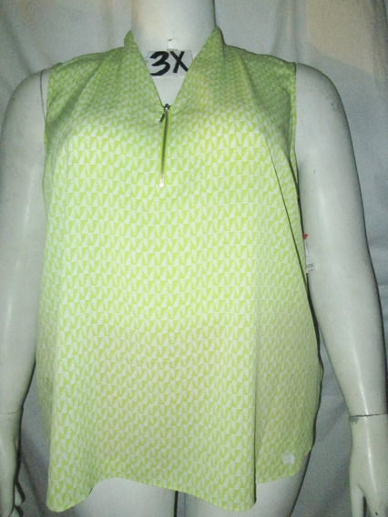 Blusa Verde/blanco Estampada Sin Mangas Talla 3x (42/44)