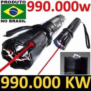 Lanterna Tática Led Recarregável Com Apontador A Laser Para Defesa Pessoal