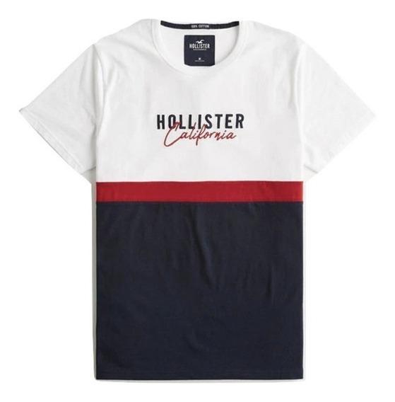 Playera Hollister Original Con Estampado De Logo Dos Colores