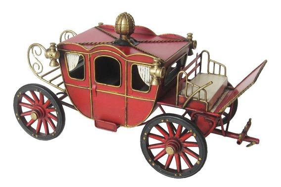 Carruagem Vermelha Miniatura De Metal 32cm