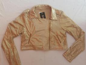 Jaqueta Paetê Zíper Curta Dourada