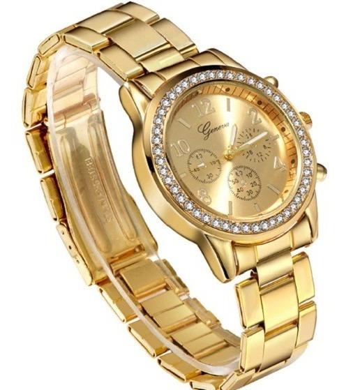 Relógio Feminino Geneva Pulseira Dourada Com Strass Aço Novo