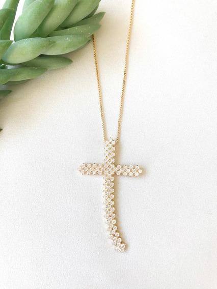 Colar Cruz Thássia Cravejado Com Zircônias Folheado A Ouro 1