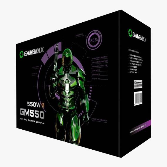 Fonte Gamemax Gm550 550w, 80 Plus Bronze, Pfc Ativo, Blac