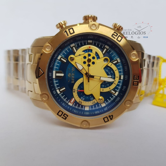Relógio Invicta Pró Diver 22765 Original Ouro 18k Com Azul