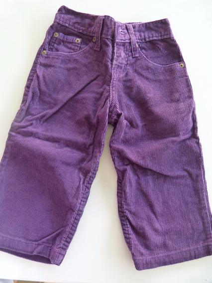 Pantalon De Corderoy Violeta Con Elastico En La Cintura