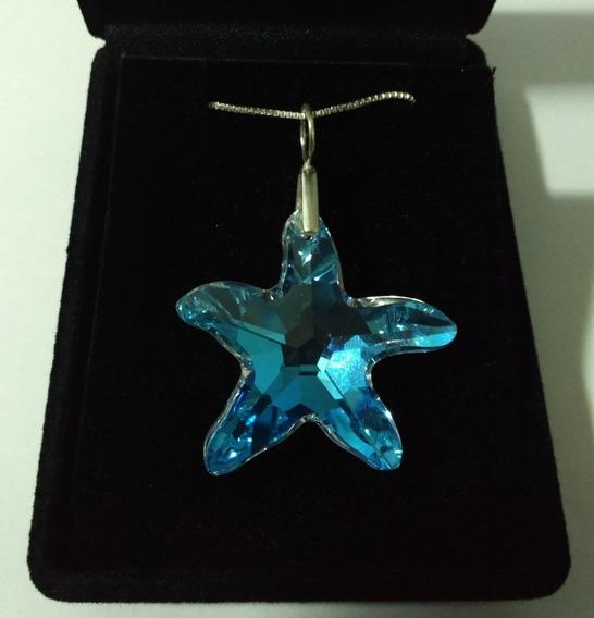 Colar Cristal Swarovski Estrela Do Mar Blue Boreal Prata 925