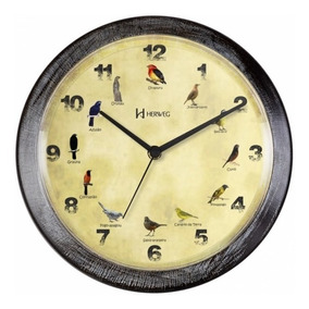 Relógio De Parede 26 Cm Canto De Pássaros Brasileiros Herweg