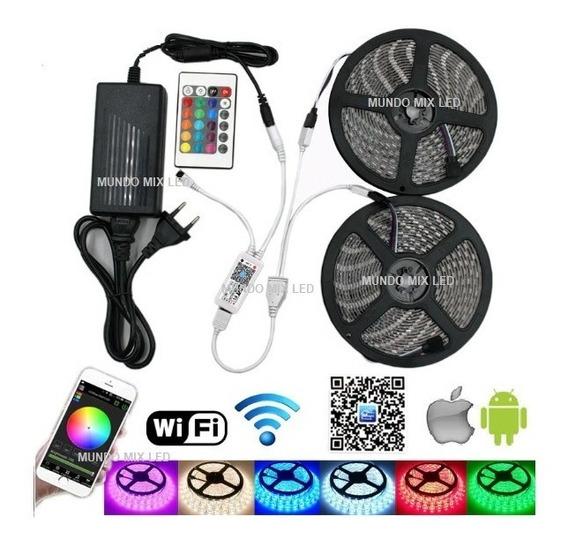 10mts Fita Led 5050 Rgb + Fonte + Controle Wifi Google Home