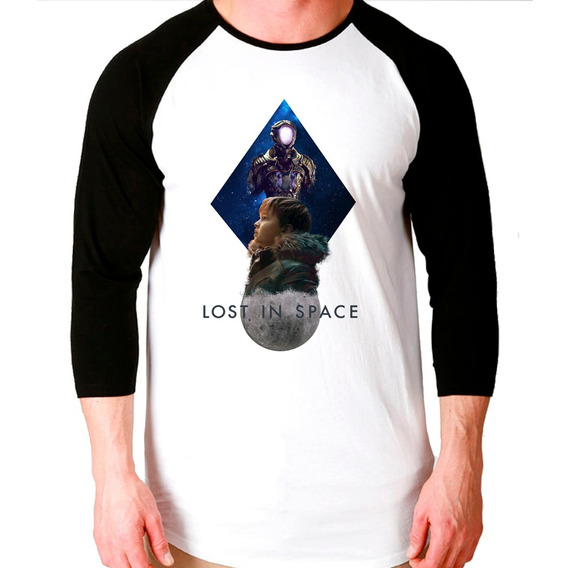 Camiseta Lost In Space V2 Raglan 3/4 Unissex
