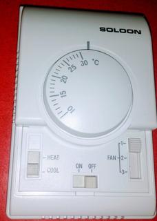 Termostato Fan Coil Agua Helada, 3 Vel, Grados C 220 Volts