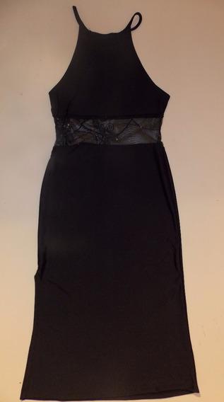 Vestido Tubo Negro Lycra Transparencias Nuevo Noche Fiesta U