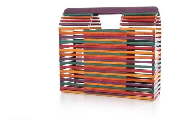 Cartera Premium Line Madera Multicolor Mujer Moda