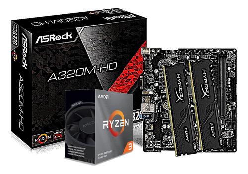 Kit Processador Amd Ryzen 3 3100 Asrock A320m-hd Hx 2x 8gb