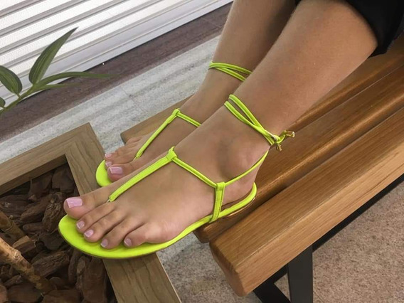 Sandália Gladiadora Feminino Rasteira Verde Neon