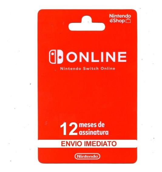 Cartão Nintendo Switch Online Assinatura De 12 Meses Brasil