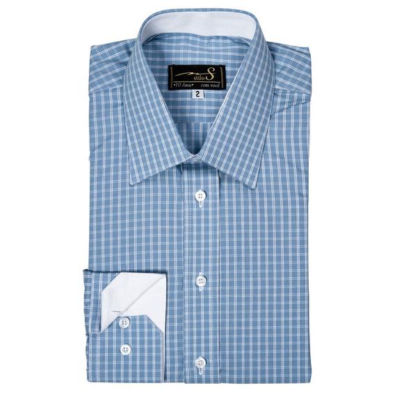 Camisa Punho Simples Gola Francesa (ref- B 533)