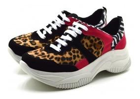Tênis Feminino Sneakers Chuncky Sola Alta Pelo Onça E Cores