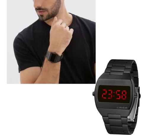 Relógio Lince Masculino Preto Quadrado Led  Mdn4620l Vxpx