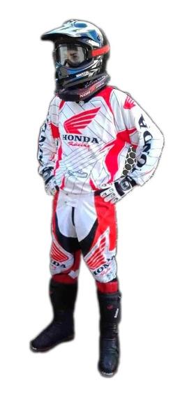 Pantalon Y Buzo Motocross Nacional Cordura Honda Blanco