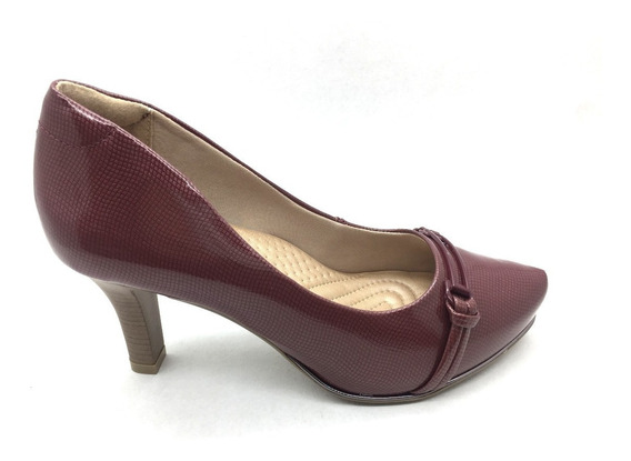 Sapato Scarpin Comfortflex Vermelho Salto Fino Frete Grátis