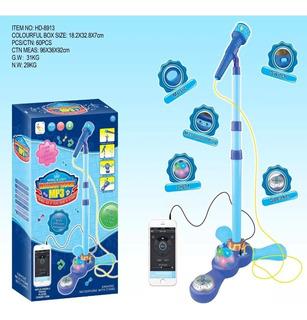 Microfono Pedestal Juguete Mp3 Con Luces Infantil Evzpro