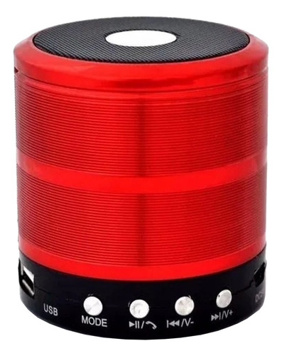 Caixa de som Grasep D-BH887 portátil com bluetooth vermelha
