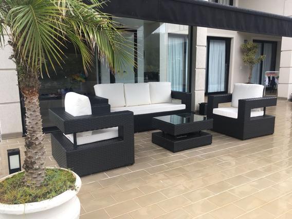 Jogo De Sofa 3 Lug Com Poltronas Fibra Sintetica E Aluminio